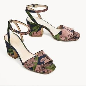 Zara Basic Floral Heeled Sandals